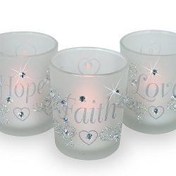 Decorative Glass Votive Holders – FAITH HOPE LOVE Frosted Glass Candle Holders – Sil ...