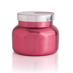 "Capri Blue 8 oz. Pink Metallic Holiday Jar Candle ""Peppermint"""