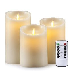 Air Zuker D-Cell Flameless Candles Dancing Flame Wax Pillar LED Candle, 500 Hours Lighting, Use  ...