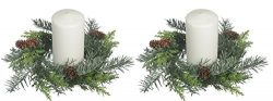 Set of 2, 10 Inch Artificial Pine Christmas Candle Rings With Pine Cones And Light Snow Sparkle  ...