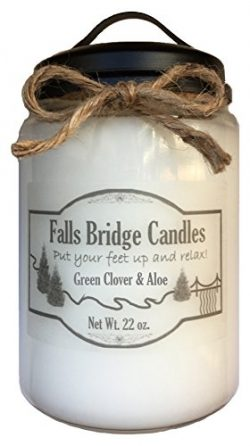 Green Clover & Aloe, 22 oz. Scented Jar Candle, Soy Blend, Falls Bridge Candles