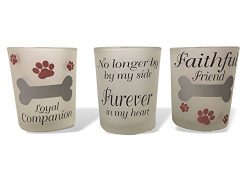 Pet Memorial Candle – Set of 3 Votive Candle Holders with Pet Memorial Saying – No L ...