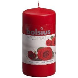 Red Scented Pillar Candle – Velvet Rose Fragrance – Valentine's Day Gift