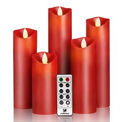 Flameless Candles- Flickering Flameless Candles Red Color LED Candles Set 5″ 6″ 7&#8 ...