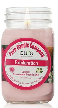 PURE Soy Wax Aromatherapy Scented Candle. Jasmine Geranium Essential Oil Soy Candle, Home Fragra ...