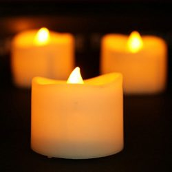 Yzan set of 12 LED Tealight Flameless Candles with Yellow Flickering Flame Battery Operated for  ...