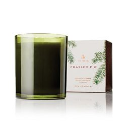 Thymes – Frasier Fir Pine Needle Green Glass Jar Candle, 50-Hour Burn Time – 6.5 Ounces