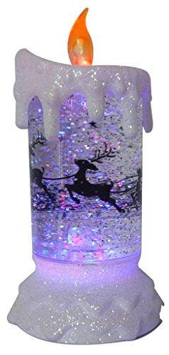 Lightahead LED glitter flameless candle with Moving Patterns light Sprinkle colorful glitter bas ...