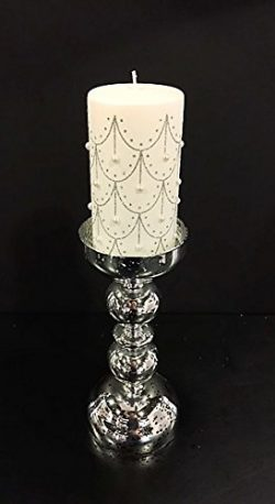 Christmas Gift Decorative Pillar Candle with Hanging Glittery Pearl Design, Smokeless Wax Candle ...