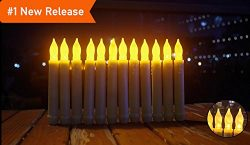 LED Taper Candles, Battery Operated With Timer Wax Dripped Amber Flickering Flameless Tapers Can ...
