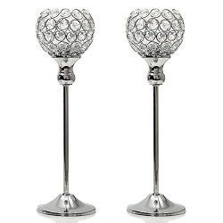 VINCIGANT Crystal Modern Candle Holders Pillar Christmas Coffee Table Decorative Centerpiece for ...