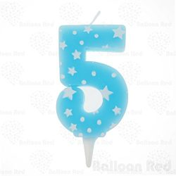 "Numerals Birthday Party Cake Candle & Happy Birthday Cake Topper, Blue, Number ""5̶ ..."