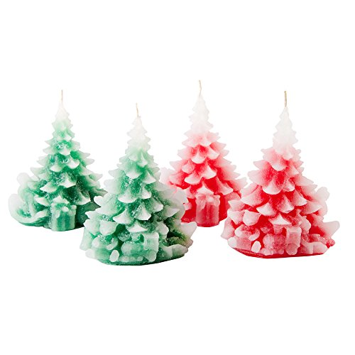 Candle Atelier 'Merry Christmas Trees' (Red and Green) 4.7″ Handmade Christmas ...