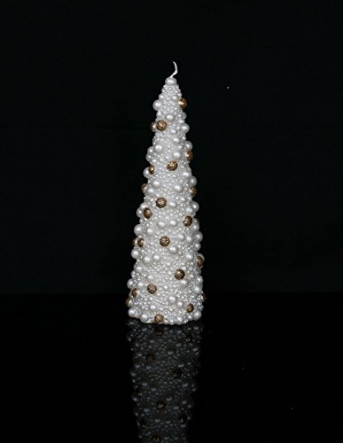 Christmas Gift – Metallic Cone Tree Candle with Glittery Colored Pearl Beads Design 8̸ ...
