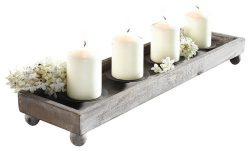 Wood Candle Tray – 21″ Antique Finish Tray with Four Metal Candle Holders Product SK ...