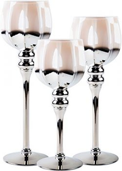 Palais Glassware Elegant Bougeoir Collection, Set of 3 Hurricane Candle Holders (Brown Gold Hexagon)