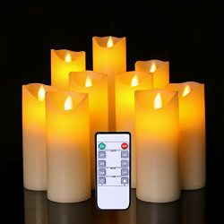 Flameless led Candles Flickering Light Pillar Votive Halloween Decoration Real Smooth Wax with T ...