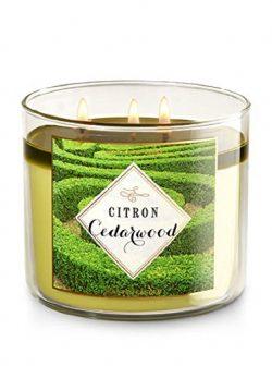 Bath & Body Works Citron Cedarwood Scented 3 Wick Candle 14.5 Oz (Green)