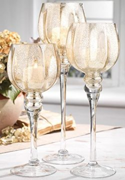 Palais Glassware Elegant Bougeoir Collection, Set of 3 Hurricane Candle Holders (Silver Fleck He ...