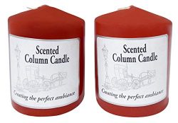 2 Pack of Scented Pillar Candles 3″x4″ Solid Core Made in the USA (Red/Spice Scent)