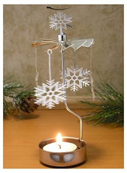 Spinning Snowflake Candle Holder – Silver Laser Cut Snowflake Charms Turn Around When the  ...