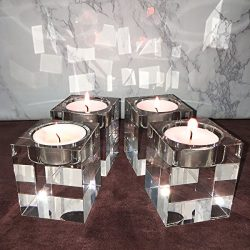 Amazing Home Candle Holders Set of 4,Elegant Heavy Crystal Cuboid Tealight Holders ,Clear Square ...