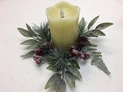 Jack Frost On Your Tabletop Winter Christmas Holiday 10 Inch Wreath Candle Ring Interior Decorat ...
