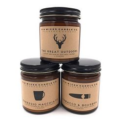The Men's Collection Candle Gift Set || 3 – 4oz. Artisan Botanical Soy Wax Candle Ja ...