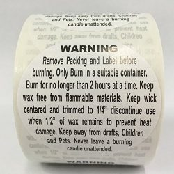 500 Labels 1.5″ Round Generic CANDLE Warning Jar Container Stickers