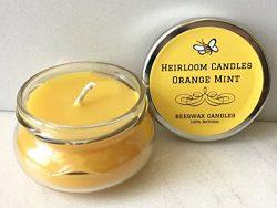 Orange Peppermint Beeswax Candle – Orange Mint – Handmade, 3.3oz