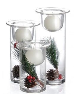 Set of 3 Glass Hurricane Candle Holders Filled with Holiday Flowers, Decorative Sphere Ball Cand ...