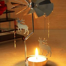 Hacloser Rotary Candle Spinning Tealight Metal Tea light Holder Carousel Party Decor Xmas Gifts  ...