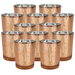 Just Artifacts Speckled Mercury Glass Votive Candle Holder 2.75″H (12pcs, Rose Gold Votive ...