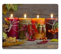 Liili Mouse Pad Natural Rubber Mousepad IMAGE ID 32007894 Autumn candles with leaves vintage abs ...