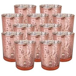Just Artifacts Speckled Mercury Glass Votive Candle Holder 2.75″H (12pcs, Blush Votives) w ...
