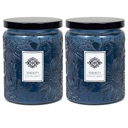 2 Aromatherapy Scented Candles – Serenity – Two 16 Ounce Glass Mason Jar Candles wit ...
