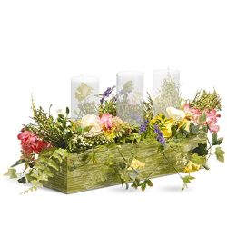 National Tree 22 Inch Spring 3 Candleholder Wood Box with Ferns and Mixed Flowers (RAS-BE030147A)
