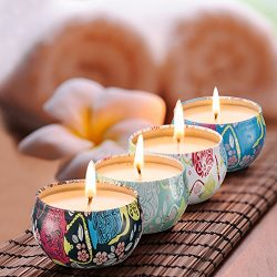 Scented Candles Jasmine,Lotus,Lilac Blossoms & White Gardenia,Natural Soy Wax Portable Trave ...