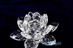 Multi-Faceted Cut- Crystal Clear Lotus Flower. By Sunrise Crystal