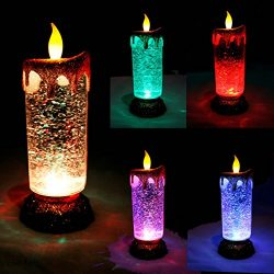 Joiedomi 2 Pack Flameless LED Candles with Glitter Swirls in 5 Colors, Battery or USB Cable Powe ...