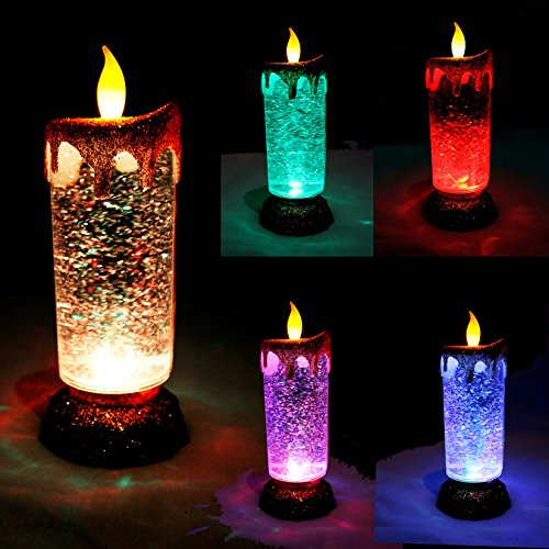 Pack of 5 Glitter Blue Floating Candles