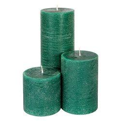 Candle Atelier Christmas Spruce Green 3 Pillars: 3″, 4,5″, 7.5″ Handmade Pilla ...