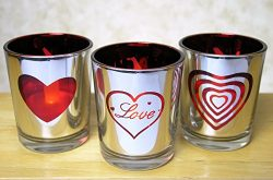 Love Votive Candle Holders Metallic Silver & Red with Word Love and Heart Shapes – Set ...