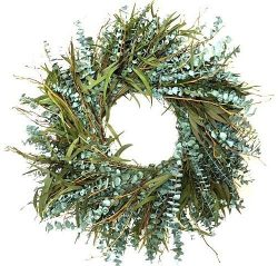 Texas Sage 17 Inch Dyed Preserved Eucalyptus Wreath Candle Ring Spring Summer Interior Decorativ ...