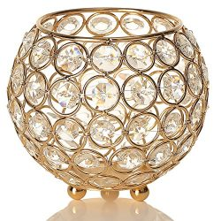 VINCIGANT Gold Crystal Votive Candle Holders for Christmas Home Decor Wedding Coffee Table Decor ...