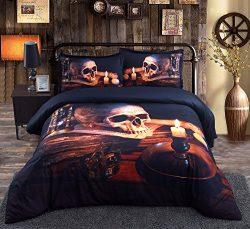 Beddinginn Halloween Skull with Candle 3d Bedding Set 50%Cotton 50%Tencel 5Pcs Comforter Sets(Qu ...