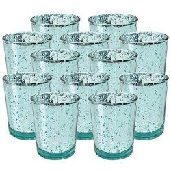 Just Artifacts Speckled Mercury Glass Votive Candle Holder 2.75″H (12pcs, Aqua Votives) w/ ...