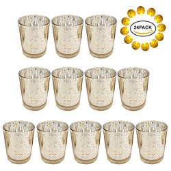 Neo LOONS Laser Cut Mercury Glass Votive Candle Holder Tealight Holder 2.70″ Height for Ho ...