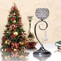 VINCIGANT Christmas Decoration Crystal Candle Holder for Dinning Room Table Centerpieces,Silver  ...