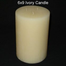 Pillar Candle – Ivory, 6×9, Unscented, Hand Poured (3 wick)